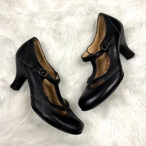🌞Sofft Black Leather Mary Jane T-strap Heels